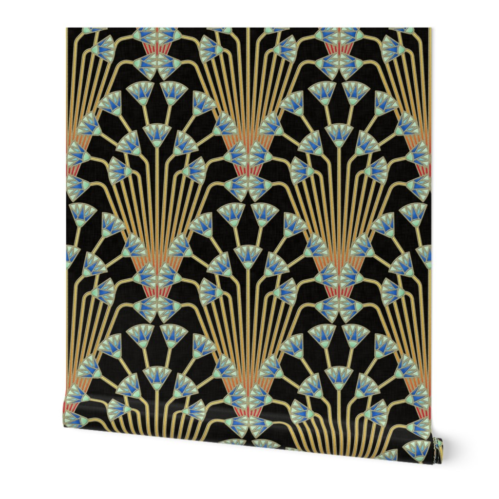 Wallpaper Roll Art Deco Egyptian Egypt Papyrus Floral 24in X 27ft