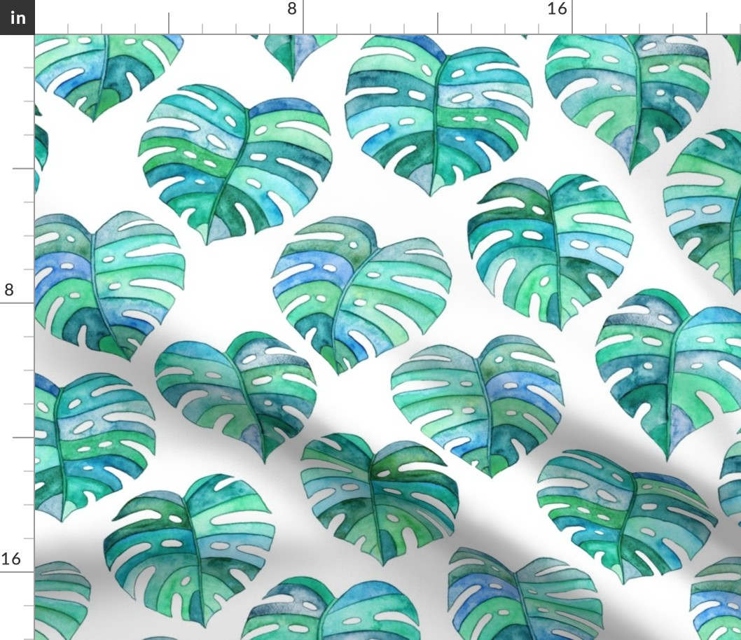 Monstera Tropical Leaves Leaf Watercolor Spoonflower Fabric By The Yard Ebay Watercolor tropical plants leaves wall art canvas posters and prints minimalist painting wall wholesales pillow case watercolor green yellow leaf tropical palm banana leaf cactus home. ebay