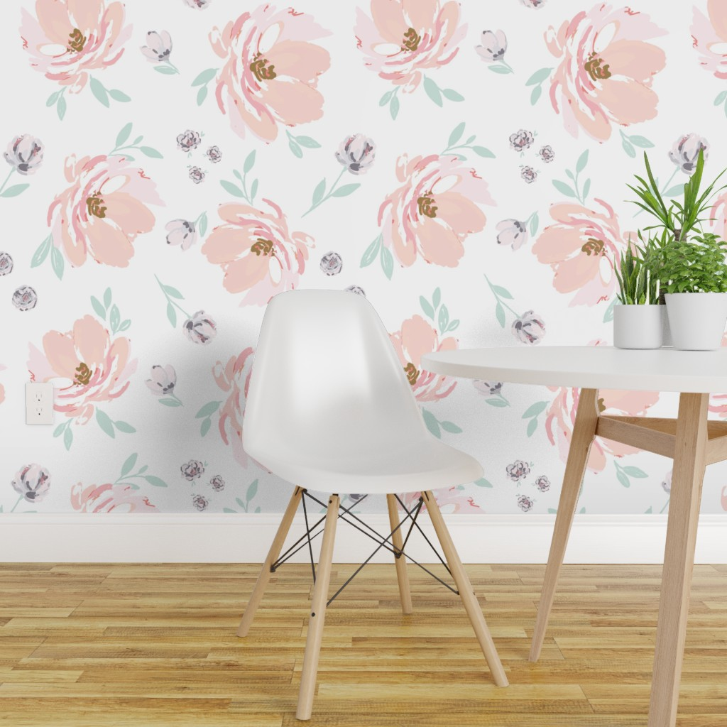 Wallpaper Roll Floral Vintage Blush Green Jumbo Nursery 24in X