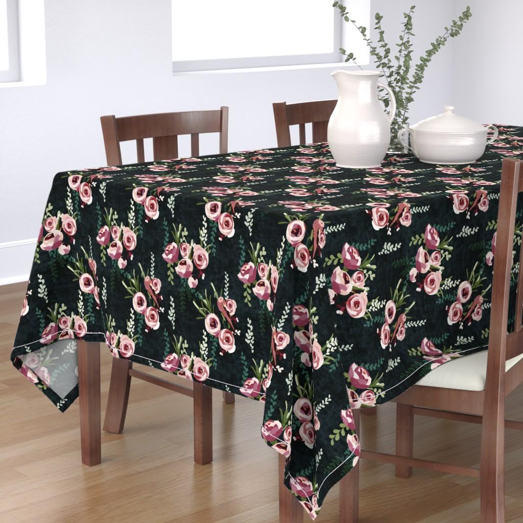Tablecloth Swedish Folk Art Florals Garden Flower Floral Spring Cotton Sateen