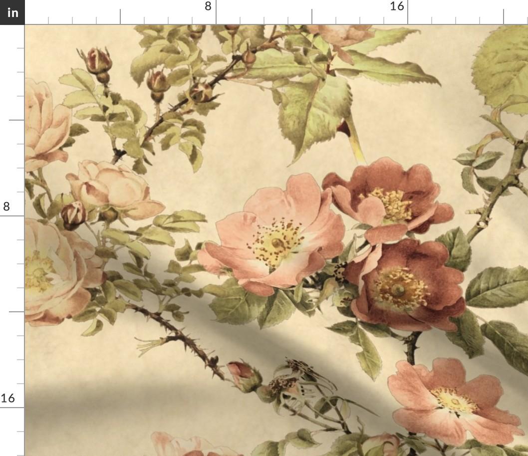 Dark Floral Vintage Garden Roses Botanical Fabric Printed by Spoonflower BTY