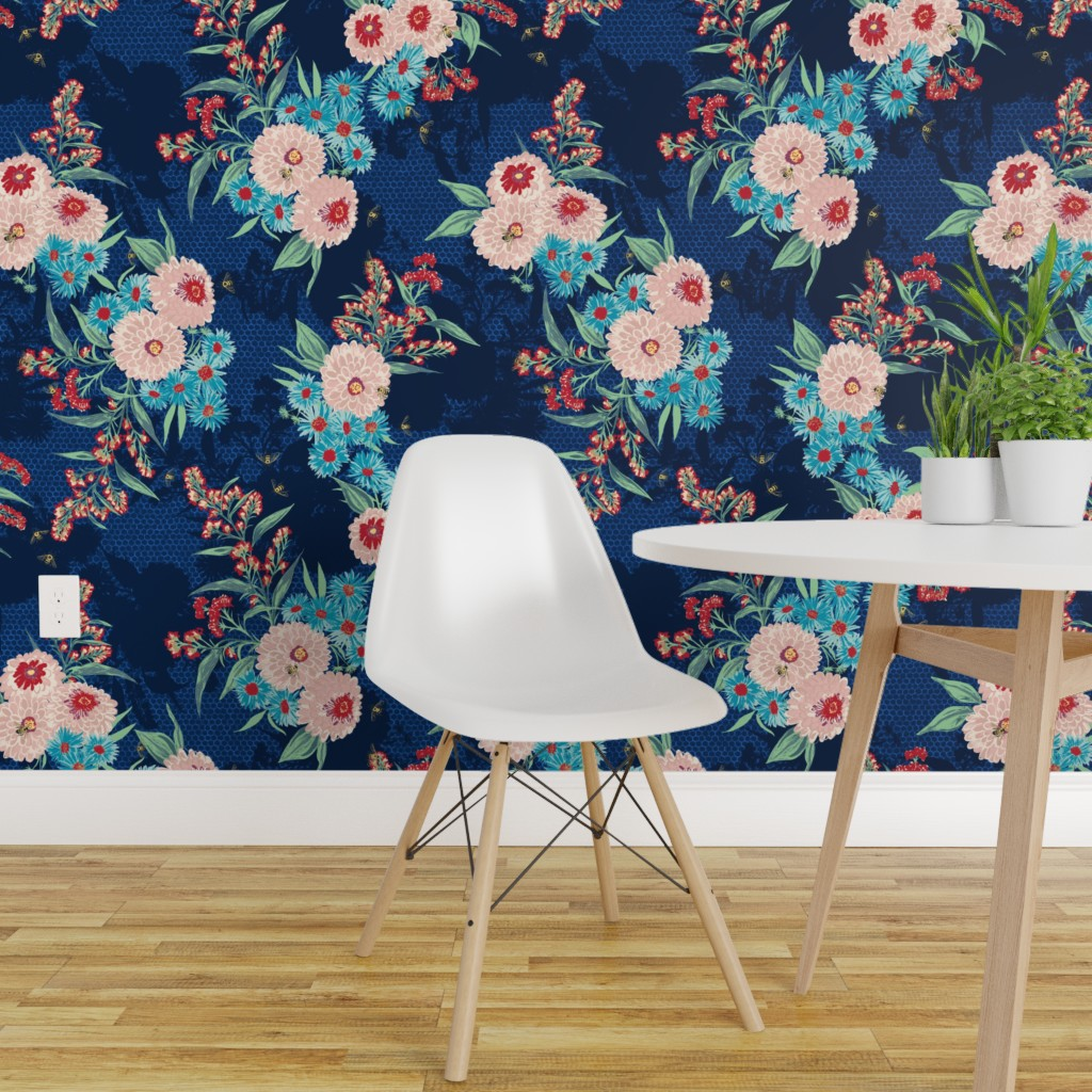 Wallpaper Roll Floral Honeybee Flowers Navy Blue Pink Rose Painted