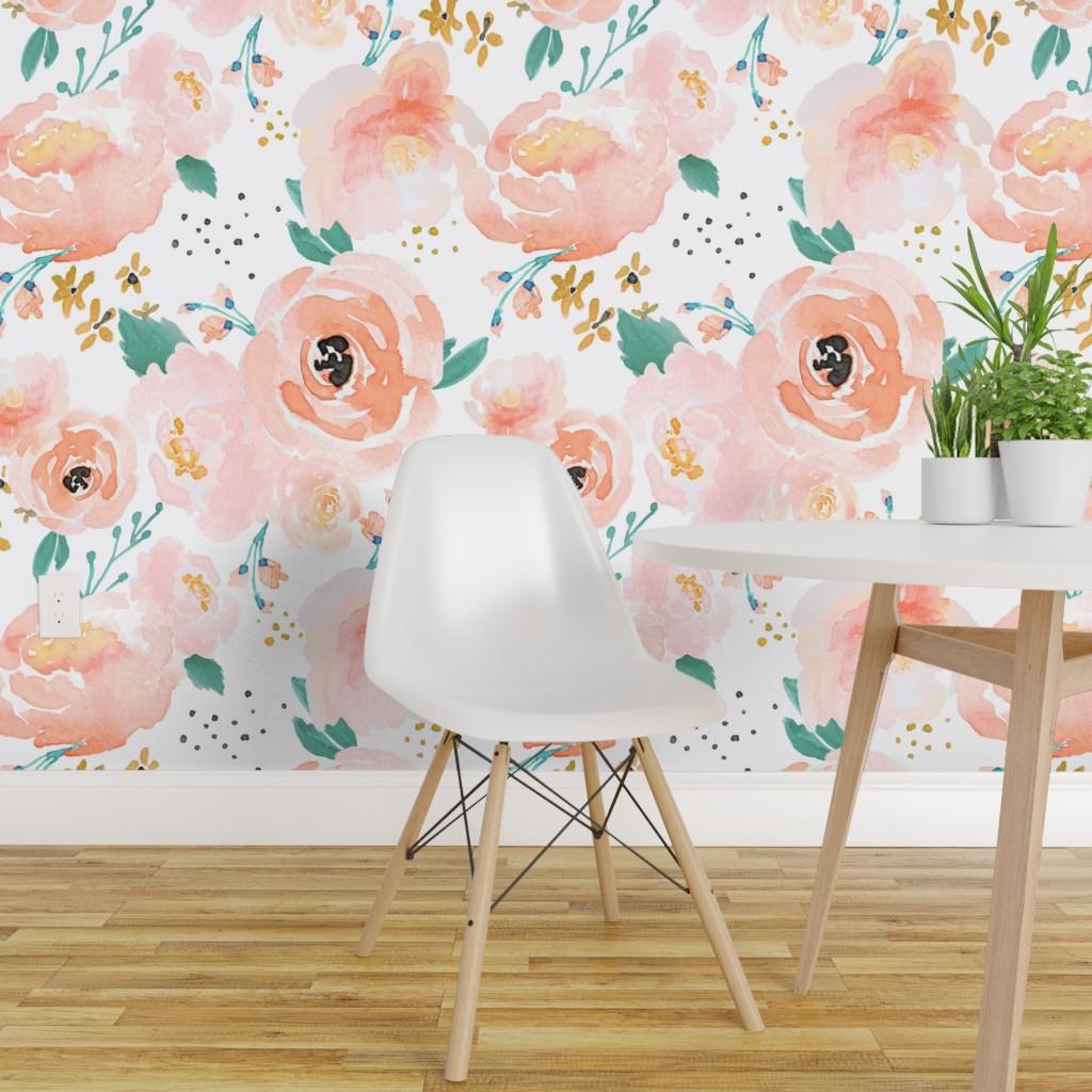 Wallpaper Roll Watercolor Floral Spring Modern Nursery 24in X 27ft