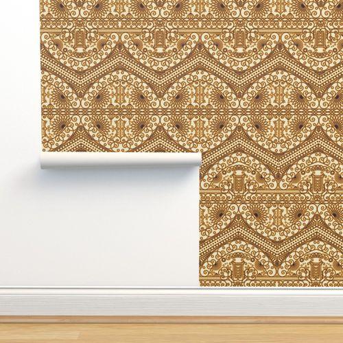 Wallpaper Golden Royal Arabic Pattern