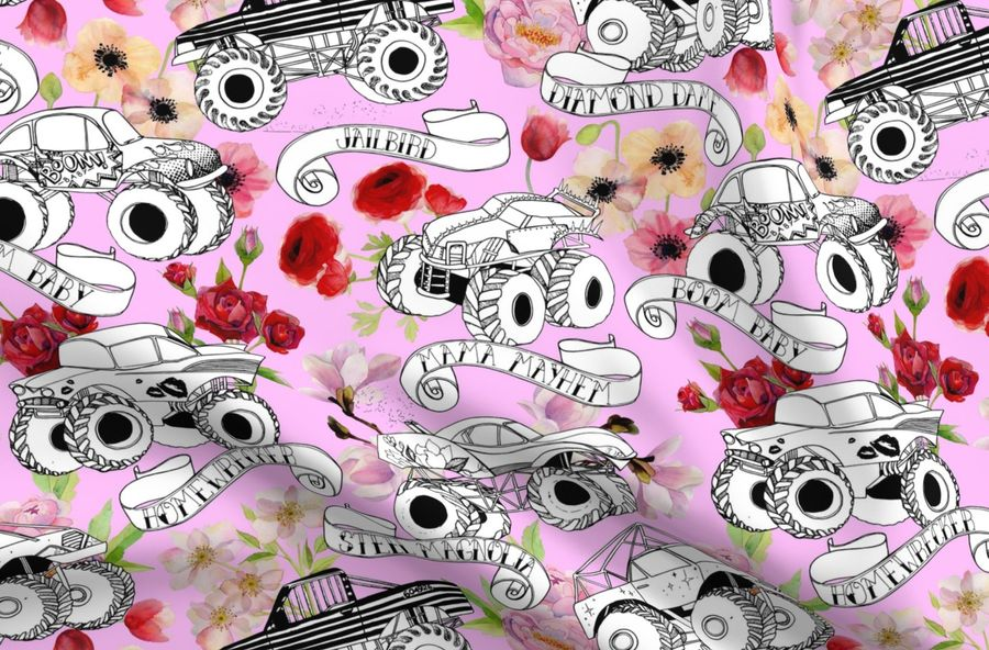 Monster Trucks Pale Pink Spoonflower