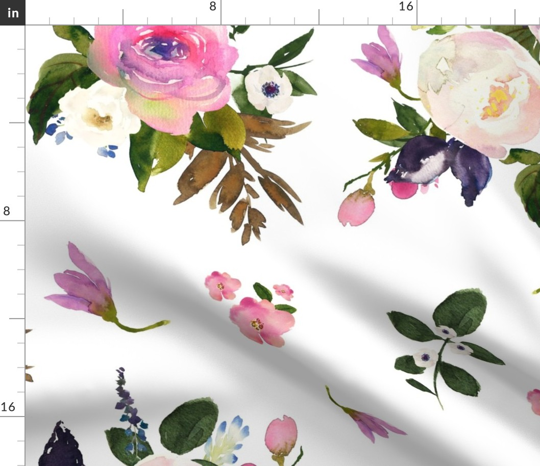 Boho Floral Watercolor Nursery Pink Lilac Fabric Printed By