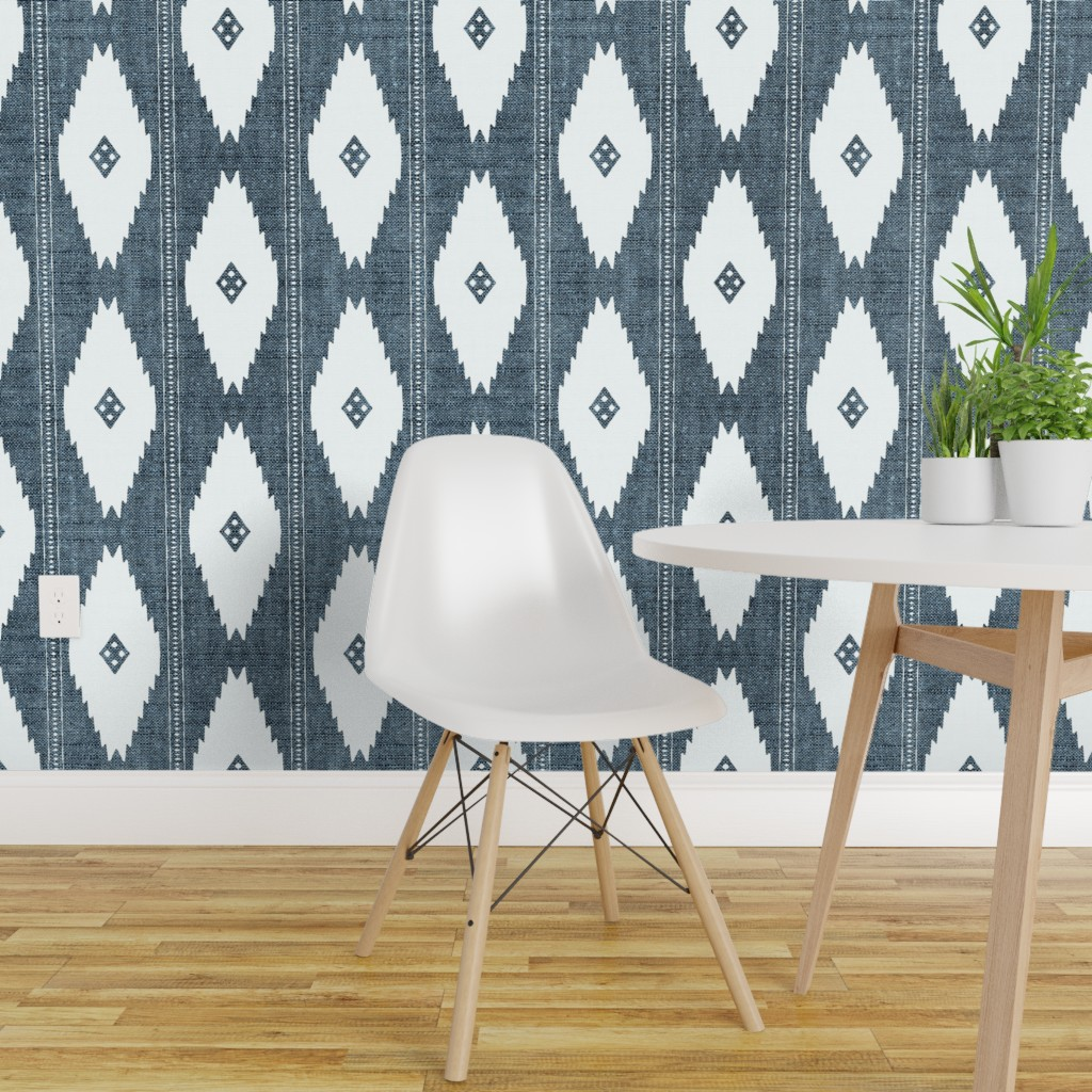 Details About L And Stick Removable Wallpaper Rustic Blue White Diamonds Modern Geo