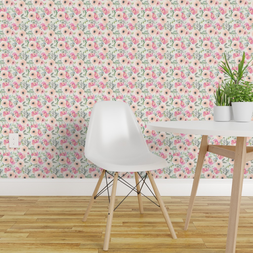 Peel And Stick Removable Wallpaper Watercolor Floral Florals