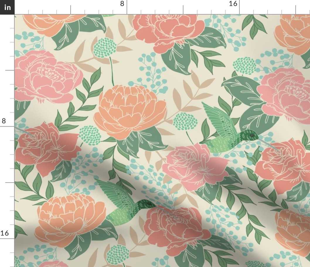 Victorian Era Pink Floral Flowers Rose Peony Fabric Printed By