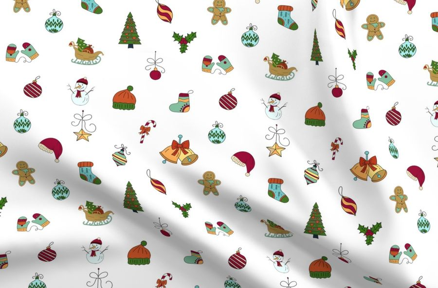 Christmas Sketches.Colorful Fabrics Digitally Printed By Spoonflower Christmas Sketches
