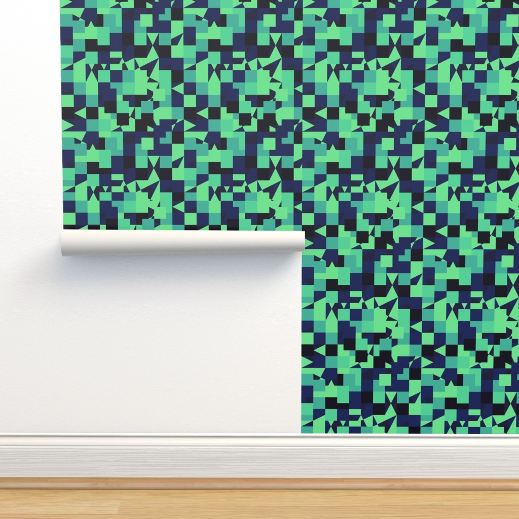 Green Blue Color Pixel Army Camo Camoufl Spoonflower
