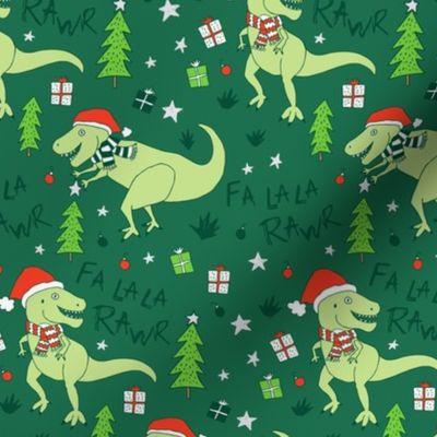 Dinosaur Christmas.Fabric By The Yard Fa La Rawr T Rex Christmas Dinosaur