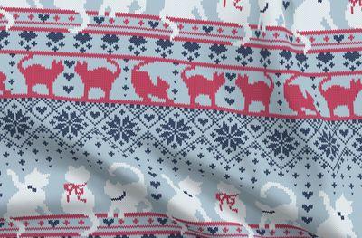 Katze Weihnachten Tiere Quilt Grau Kinderzimmer