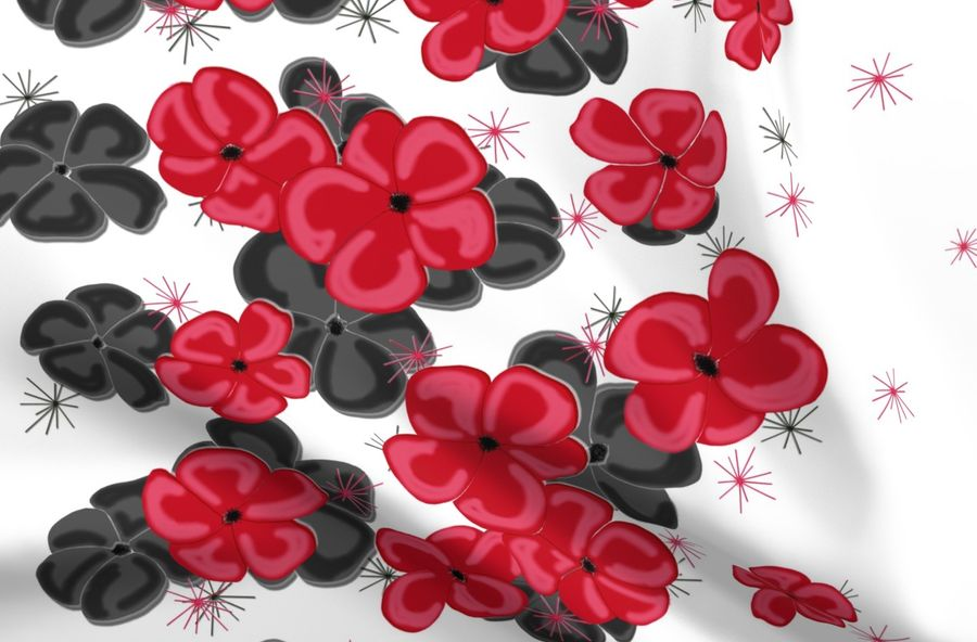 Black Gray Red Painted Poppies On Wh Spoonflower