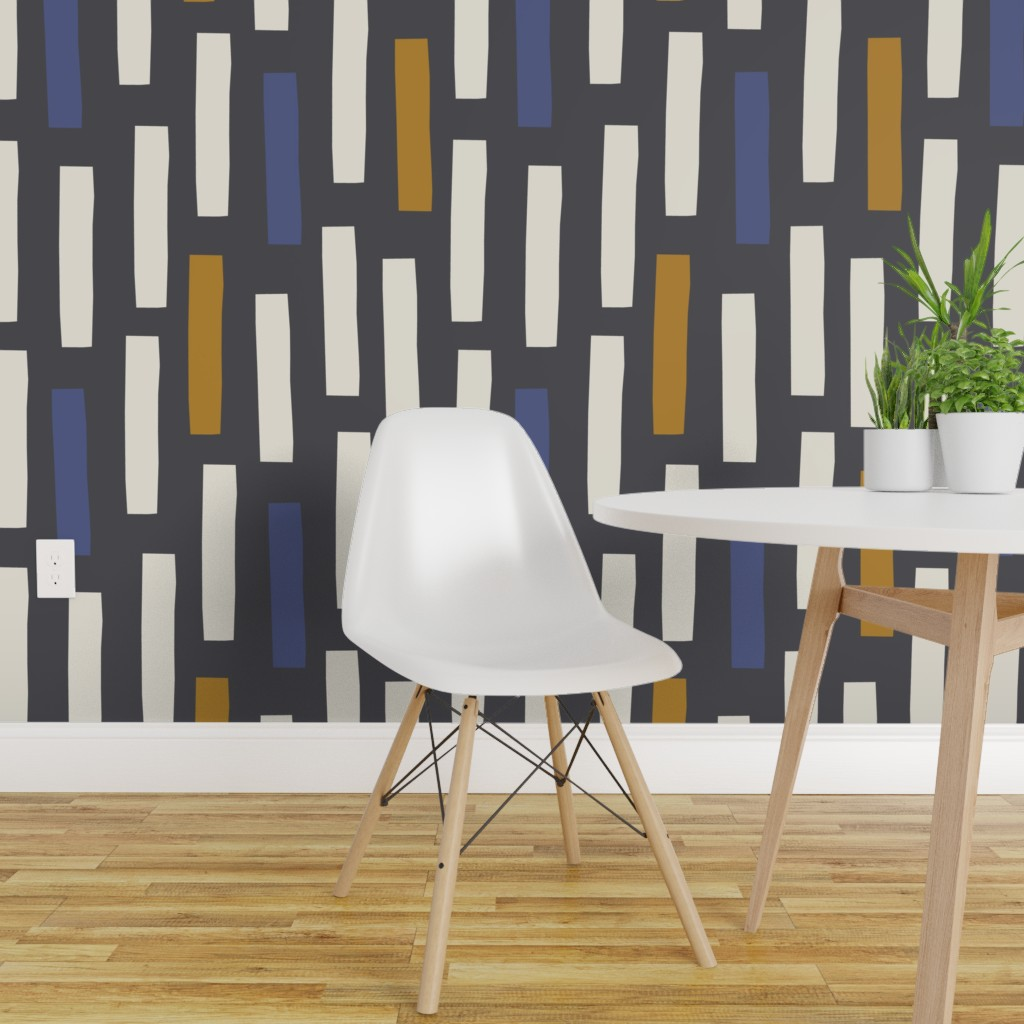 Details About Removable Water Activated Wallpaper Geometric Scandinavian Graphic Block Squares