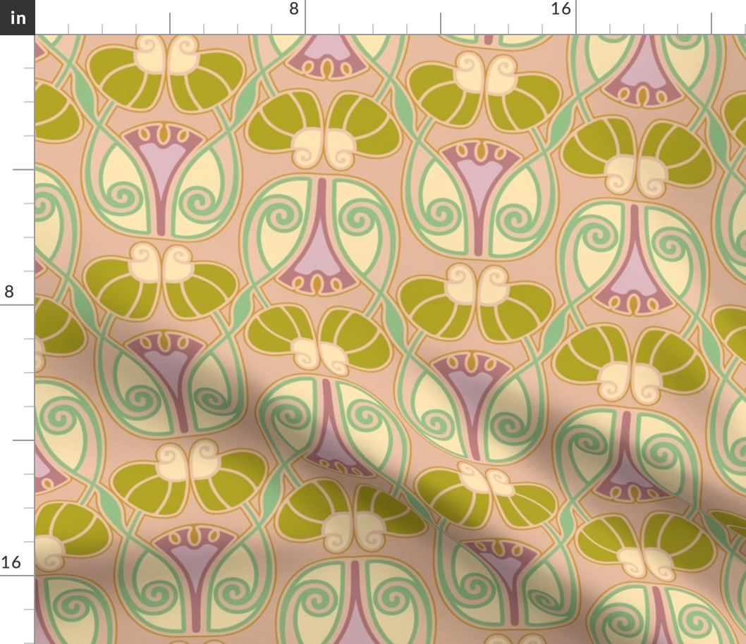 Retro Art Nouveau Vintage Floral Abstract Fabric Printed By