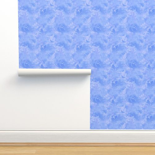 Wallpaper Periwinkle Blue Abstract Feathers Pattern