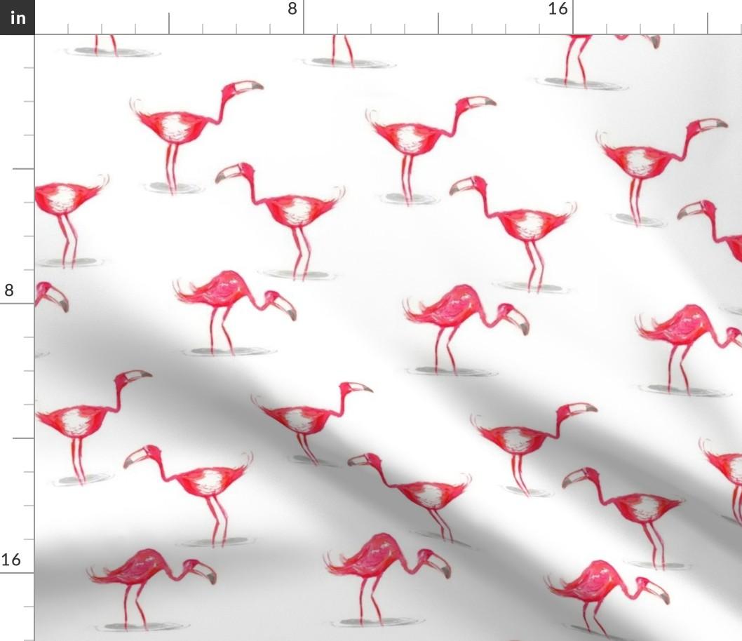 WHITE 150cm wide PINK FLAMINGO 100/% Cotton Poplin Fabric bird print Material