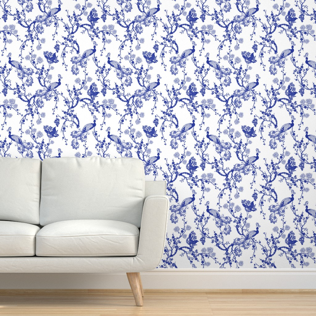 Peel-and-Stick Removable Wallpaper Chinoiserie Blue And ...