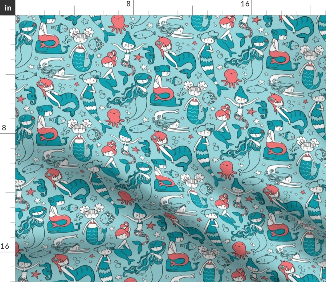 Mermaid Mermaids Under The Sea Baby Girl Fabric Printed by Spoonflower BTY