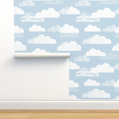 Wallpaper Clouds Fabric Baby Blue Nursery Cute