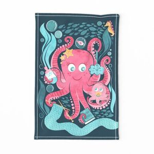 Octo mama tea towel // blue background pink octopus and teal sea motifs