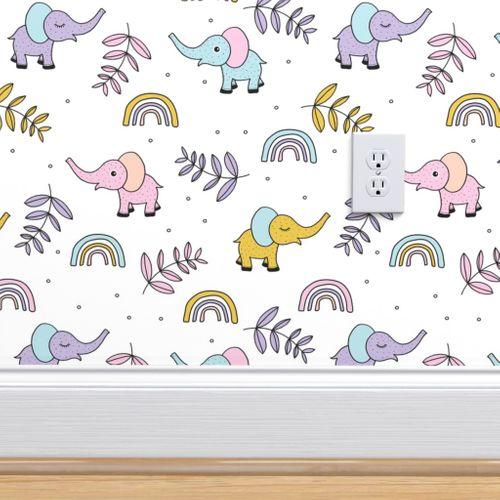 Wallpaper Little Elephant Rainbow Jungle Garden Botanical Leaves And Flowers Kawaii Lilac Pink Yellow Girls Jumbo