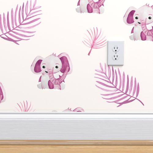 Wallpaper Little Elephant Friends Adorable Boho Style Kawaii Nursery Print Summer Pink Girls