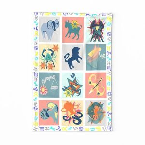 Astrological Party tea towel spoonflower