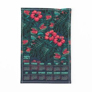 ★ 2020 : THE LAW OF THE JUNGLE ★ Tea Towel Calendar - Venus Fly Trap, Hibiscus and Monstera / Collection : It's a Jungle Out There – Savage Hawaiian Prints