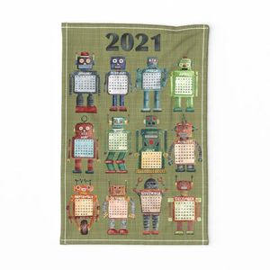 Vintage Toy Robot Tea Towel 2020
