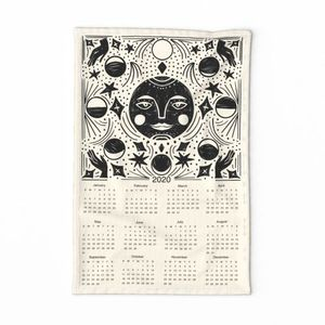 2020 Moon Calendar - moon phase calendar, 2020 tea towel, tea towel calendar - cream