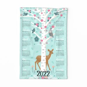 flower tree calendar ♥ tea towel design