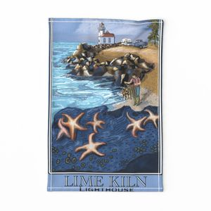 Washington Light House - LimeKiln Tea Towel  by salzanos