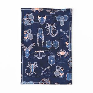 Geometric astrology zodiac signs tea towel // navy blue and coral