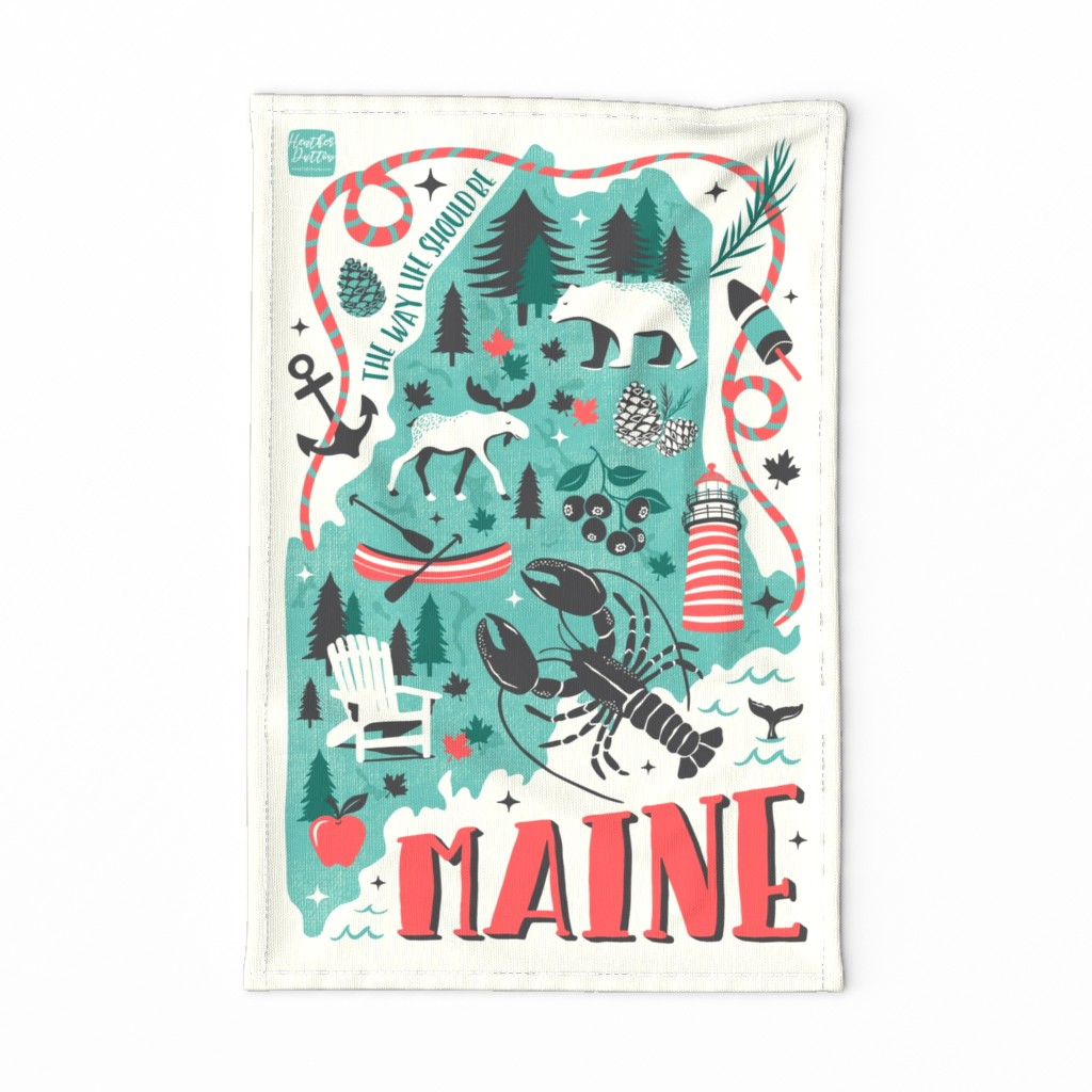 Maine Map Tea Towel - Retro Illustrated Travel Map