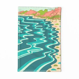 Coastline Tea Towel Blue Orange Green
