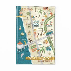 Manhattan Beach Tea Towel