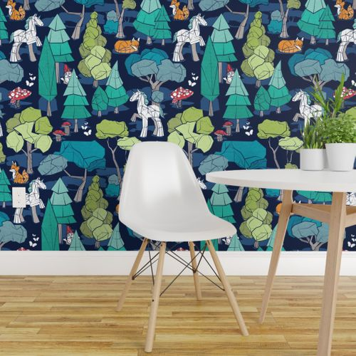 Geometric whimsical wonderland // large jumbo scale // navy blue background green forest with unicorns foxes gnomes and mushrooms