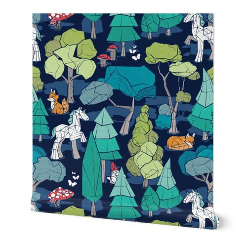 Large jumbo scale // Geometric whimsical wonderland // navy blue background green forest with unicorns foxes gnomes and mushrooms