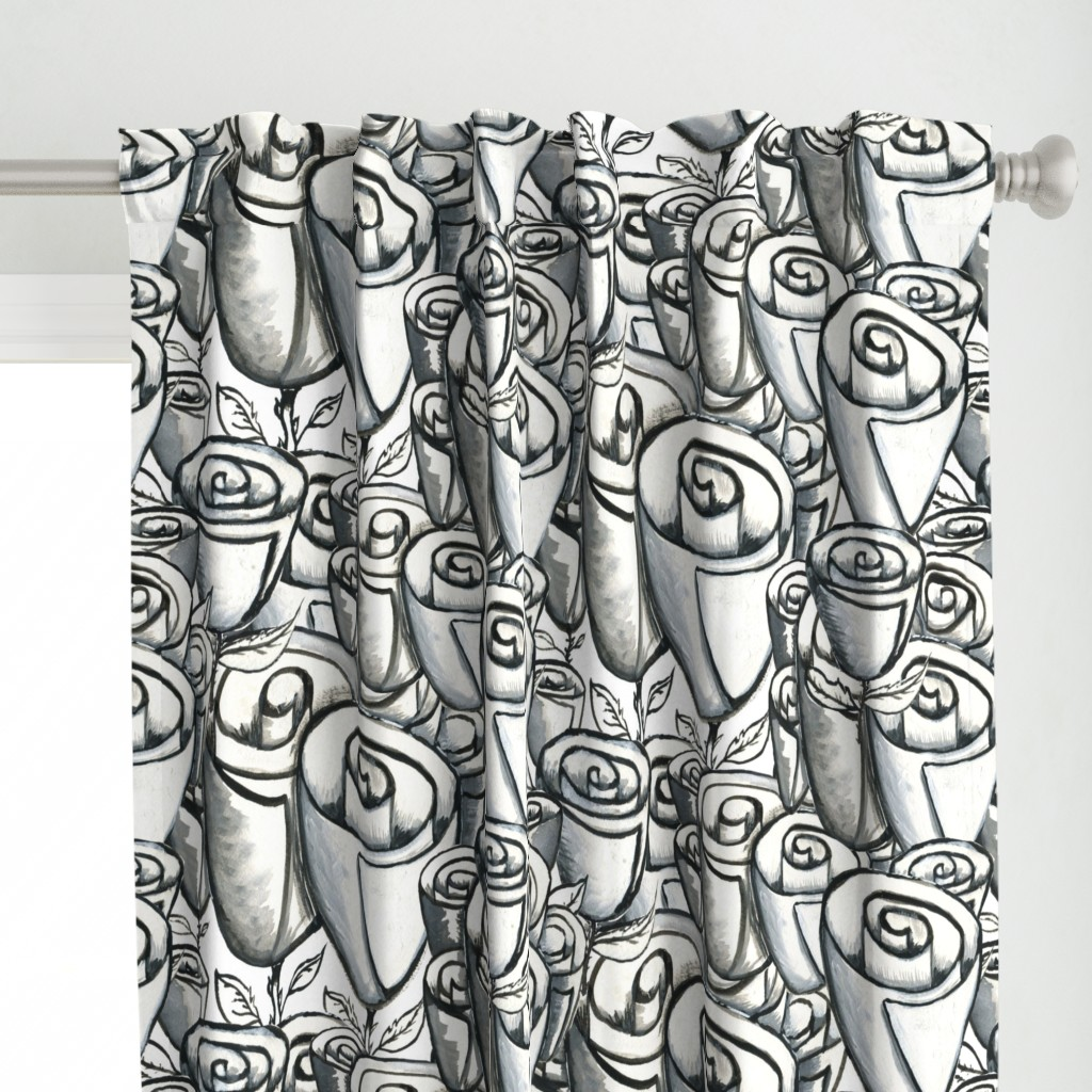 hand painted funky quirky roses, large scale, black white and gray grey