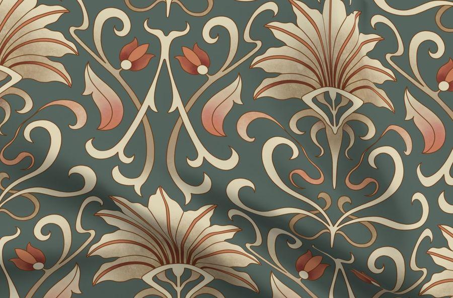 Art Nouveau Wallpaper On Dark Spoonflower