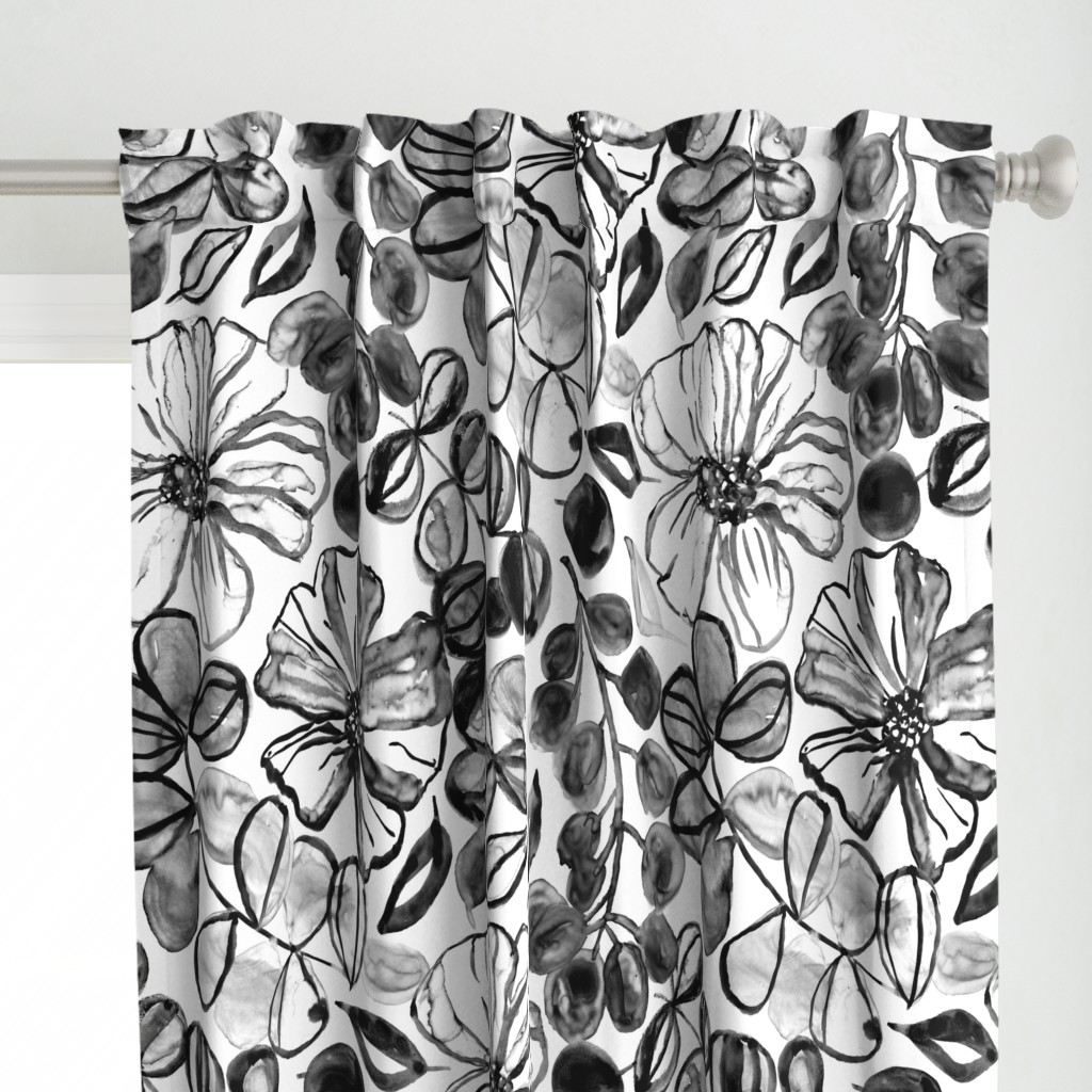 Black & White Painted Floral - Large Version