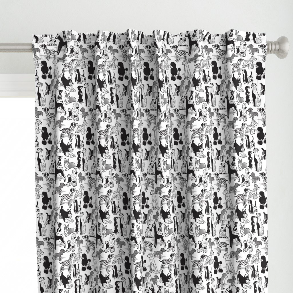 Large jumbo scale // Geometric sweet wet noses // white background black and white dogs: Beagles, Dalmatians, Corgis, Dachshunds, Pugs, Greyhounds, Dobermans, Schnauzers, Huskies, Chihuahuas, Poodles, Basset Hounds, Labrador Retrievers
