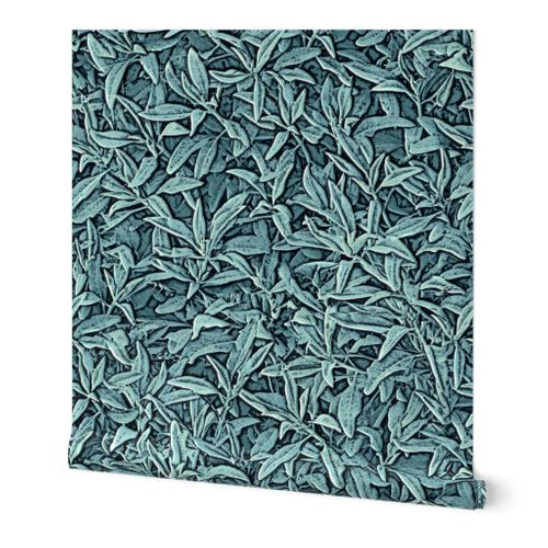 Sage Leaves Faux Texture Embossed Look  Walllpaper