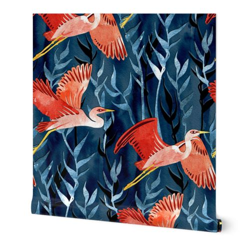 Birds and Reeds in Red and Blue
