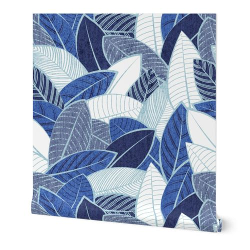 Large jumbo scale // Leaf wall // navy royal and pale blue leaves pastel blue lines