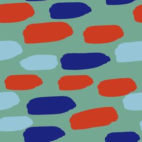 horizontal dash -- red blue green