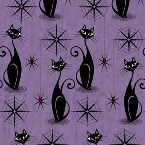Retro Spooky Meow - Distressed Purple