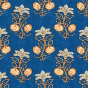 "Block-print Citrus Plant (classic blue) 4"""